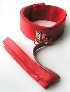 НАШИЙНИК З ПОВІДЦЕМ колір червоний, (PVC, текстиль)