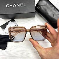 Женские солнцезащитные очки Шанель реплика Коричневые с голубым градиентом, фото 1