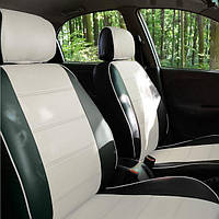 Чехлы на сиденья БМВ Е46 (BMW E46) модельные MAX-N из экокожи Черно-белый