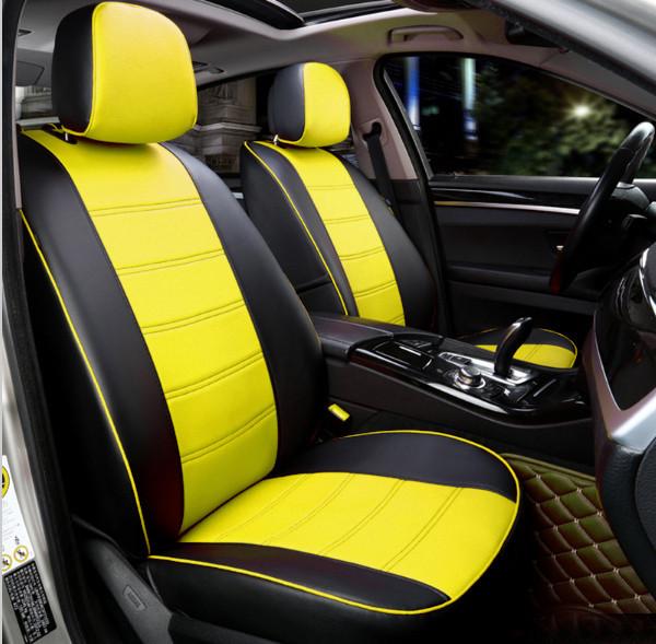 Чехлы на сиденья Ауди А4 Б7 (Audi A4 B7) модельные MAX-N из экокожи Черно-желтый
