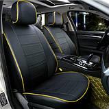 Чехлы на сиденья Ауди А4 Б7 (Audi A4 B7) модельные MAX-N из экокожи Черно-желтый, фото 2