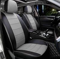 Чехлы на сиденья Форд Фокус 2 (Ford Focus 2) модельные MAX-N из экокожи Черно-серый, графит