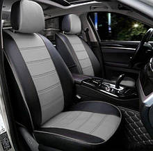 Чохли на сидіння ВАЗ Лада 2108/2109/21099) (VAZ Lada 2108/2109/21099) модельні MAX-N з екошкіри Чорно-сірий,