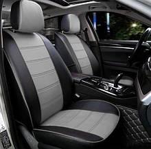 Чохли на сидіння Мітсубісі Лансер 10 (Mitsubishi Lancer 10) модельні MAX-N з екошкіри Чорно-сірий, графіт
