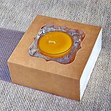 Набор стеклянного подсвечника в комплекте с прозрачной восковой чайной свечой 24г в коробке Бежевый Крафт