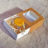 Набор стеклянного подсвечника в комплекте с прозрачной восковой чайной свечой 24г в Красной Коробке, фото 3