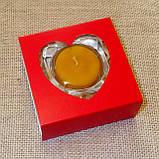 Набор стеклянного подсвечника в комплекте с прозрачной восковой чайной свечой 24г в Красной Коробке, фото 4