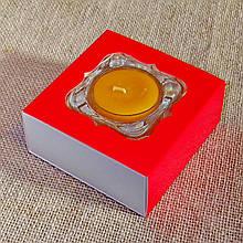 Набор стеклянного подсвечника в комплекте с прозрачной восковой чайной свечой 24г в Красной Коробке