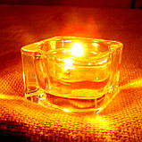 Набор стеклянного подсвечника в комплекте с прозрачной восковой чайной свечой 24г в Красной Коробке, фото 7