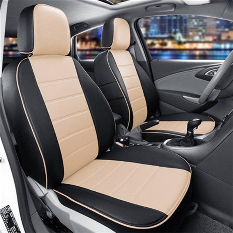 Чохли на сидіння ВАЗ Лада Пріора 2171 (VAZ Lada Priora 2171) модельні MAX-N з екошкіри Чорно-бежевий