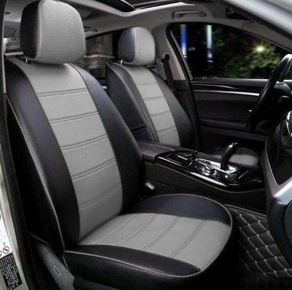 Чохли на сидіння ВАЗ Лада Калина 2118 (VAZ Lada Kalina 2118) модельні MAX-N з екошкіри Чорно-сірий, графіт