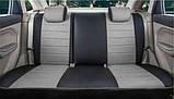 Чохли на сидіння ВАЗ Лада Калина 2118 (VAZ Lada Kalina 2118) модельні MAX-N з екошкіри Чорно-сірий, графіт, фото 2