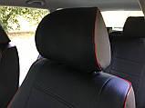 Чохли на сидіння ВАЗ Лада Калина 2118 (VAZ Lada Kalina 2118) модельні MAX-N з екошкіри Чорно-червоний, фото 6