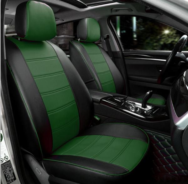 Чохли на сидіння ДЕУ Ланос (Daewoo Lanos) модельні MAX-N з екошкіри Чорно-зелений