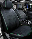 Чехлы на сиденья ДЭУ Ланос (Daewoo Lanos) модельные MAX-N из экокожи Черно-зеленый, фото 2