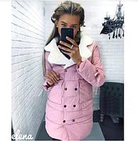 Женская стильная теплая куртка из плащевки с меховым воротником
