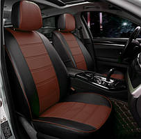 Чехлы на сиденья Фольксваген Джетта (Volkswagen Jetta) модельные MAX-N из экокожи Черно-коричневый