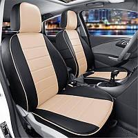 Чехлы на сиденья Фольксваген Кадди (Volkswagen Caddy) модельные MAX-N из экокожи Черно-бежевый