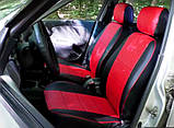 Чохли на сидіння Фольксваген Поло 3 (Volkswagen Polo 3) модельні MAX-N з екошкіри Чорно-червоний, фото 4