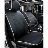 Чохли на сидіння Ніссан Тііда (Nissan Tiida) модельні MAX-N з екошкіри Чорно-бежевий, фото 2