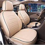 Чохли на сидіння Ніссан Тііда (Nissan Tiida) модельні MAX-N з екошкіри Чорно-бежевий, фото 3