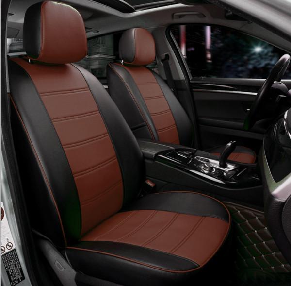 Чехлы на сиденья Шкода Октавия А7 (Skoda Octavia A7) модельные MAX-N из экокожи Черно-коричневый