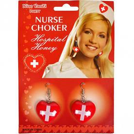 Сережки медсестри червоні