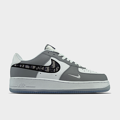 Кроссовки Nike Air Force 1 Low x Dior Grey мужские, серого цвета, Найк Аир Форс 42