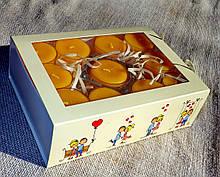 Набор 1 стеклянного подсвечника в комплекте с 11 прозрачными восковыми чайными свечами 24г для влюбленных
