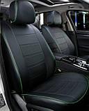Чохли на сидіння Рено Меган 2 (Renault Megane 2) модельні MAX-N з екошкіри Чорно-зелений, фото 2