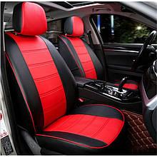 Чохли на сидіння Мітсубісі Лансер 10 (Mitsubishi Lancer 10) модельні MAX-N з екошкіри Чорно-червоний