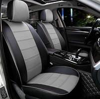 Чохли на сидіння Мітсубісі Грандіс (Mitsubishi Grandis) модельні MAX-N з екошкіри Чорно-сірий, графіт