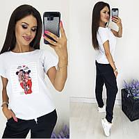 Женский стильный летний прогулочный костюм хлопковая футболка спринтом и штаны