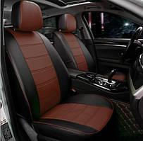Чохли на сидіння Мітсубісі Грандіс (Mitsubishi Grandis) модельні MAX-N з екошкіри Чорно-коричневий