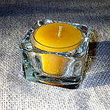 Набор 3 стеклянных подсвечников в комплекте с 11 прозрачными восковыми чайными свечами 24г для влюбленных, фото 5