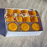 Набор 3 стеклянных подсвечников в комплекте с 11 прозрачными восковыми чайными свечами 24г для влюбленных, фото 4