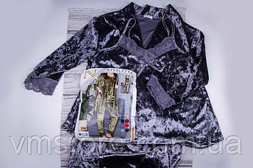 Комплект жіночій піжама, халат, оксамит, Туреччина