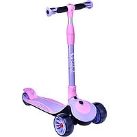 Maraton Golf складной трехколесный детский самокат с широкими светящимися колесами розовый с фиолетовым