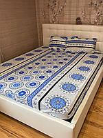 Хлопковая простынь на резинке с наволочками 160*200 Турция Разные цвета и рисунки №2 голубой, фото 1