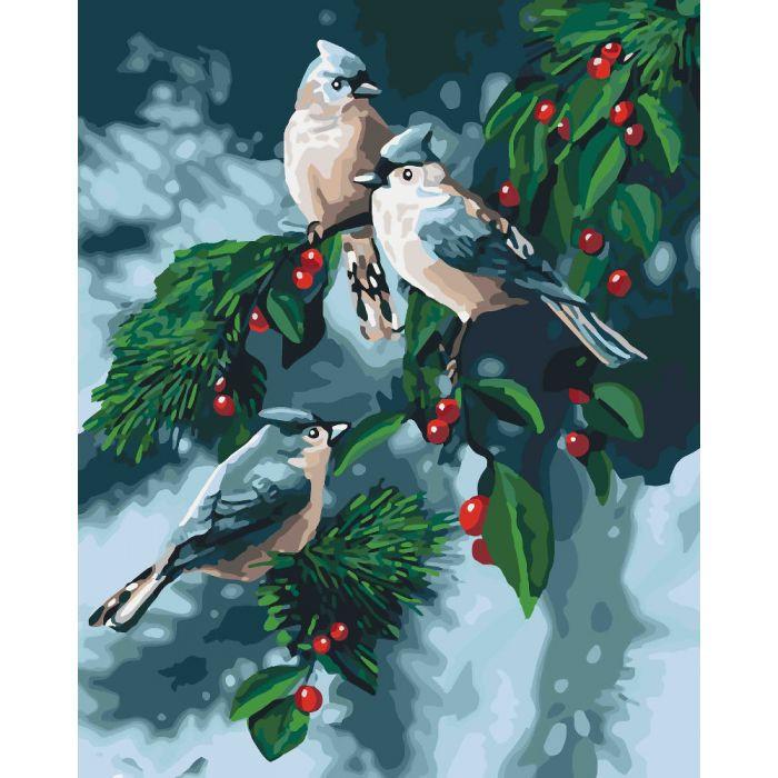 """Картина по номерам. Животные, птицы """"Зимние птицы""""  KHO4081"""