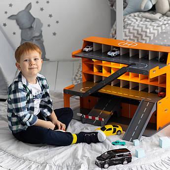 """Гараж для машинок Woodmax """"Деметра"""" 68*38*48 см оранжевый с LED-подсветкой"""