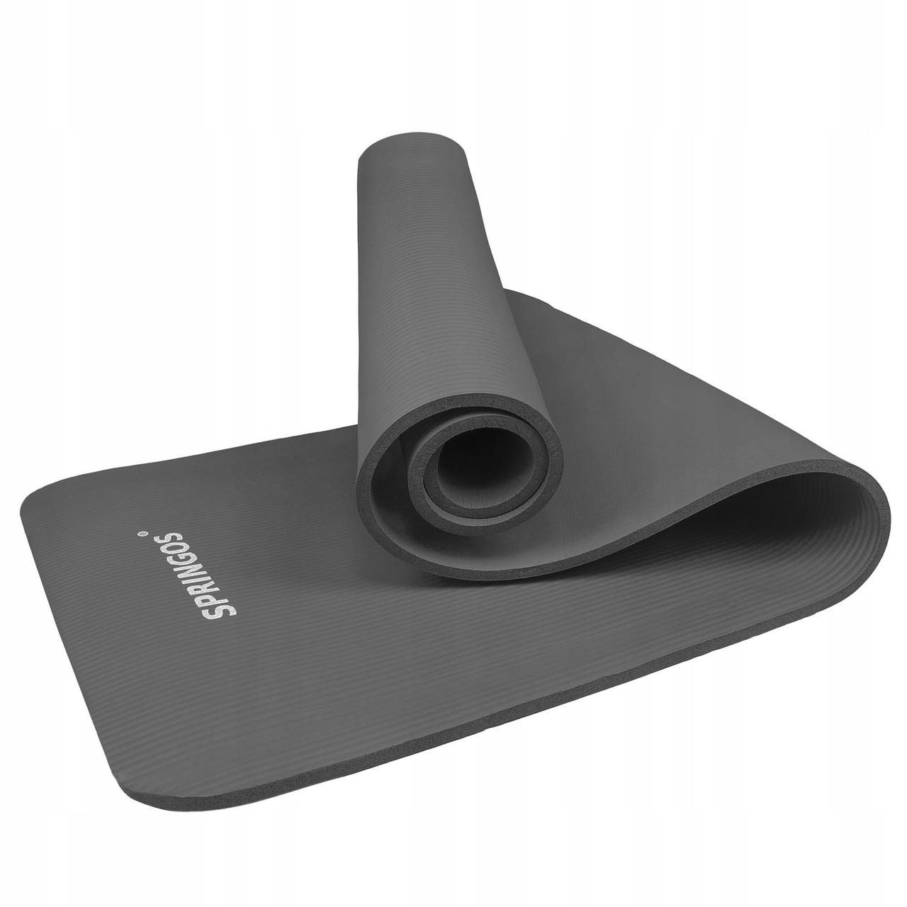 Коврик (мат) для йоги и фитнеса Springos NBR 1.5 см YG0001 Grey