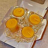 Набор 2 стеклянных подсвечников с 4 прозрачными восковыми чайными свечами 24г в коробке Бежевый Крафт, фото 3