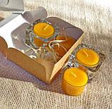 Набор 2 стеклянных подсвечников с 4 прозрачными восковыми чайными свечами 24г в коробке Бежевый Крафт, фото 4