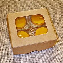 Набор 2 стеклянных подсвечников с 4 прозрачными восковыми чайными свечами 24г в коробке Бежевый Крафт