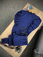 Спортивный костюм мужской без капюшона, турецкая двунитка, комплект для занятия спортом, цвет темно-синий