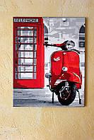Картина акрилом Легендарный мотоцикл Vespa 40х50см покрыта глянцевым лаком Ручная работа