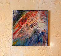 Картина жидким акрилом Внутренний мир 30х30см покрыта эпоксидным клеем Ручная работа