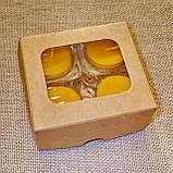 Набор 2 стеклянных подсвечников с 4 прозрачными восковыми чайными свечами 24г в Белой Коробке, фото 5
