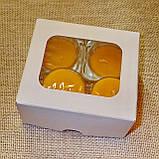 Набор 2 стеклянных подсвечников с 4 прозрачными восковыми чайными свечами 24г в Белой Коробке, фото 2